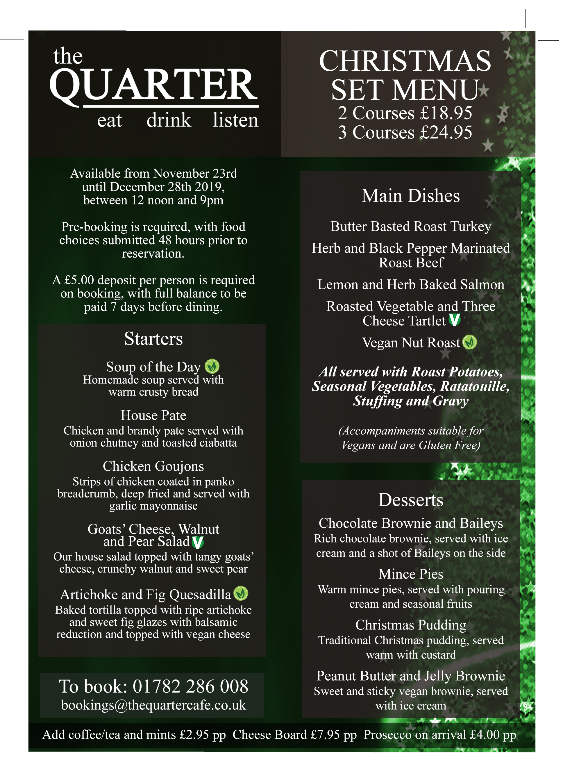 Christmas Menu.Christmas Set 2 3 Course Meal The Quarter Cafe